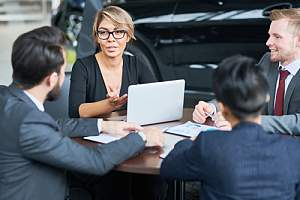 Sales consultant conducting sales training