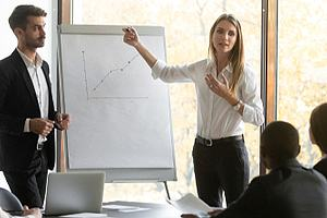 Woman leading sales training