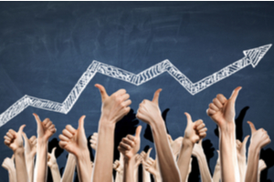 a school of thumbs up and an upward arrow indicating improve sales performance