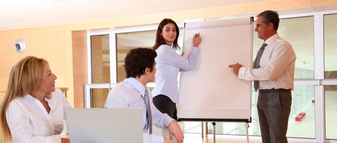 sales training taking place in a office