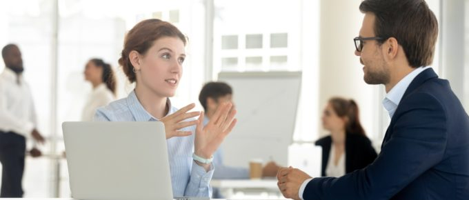 A sales person and a client. Negotiation is one of the basic skills salespeople should possess